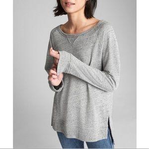 GAP Raglan Tunic Sweatshirt Heather Grey Sz L EUC
